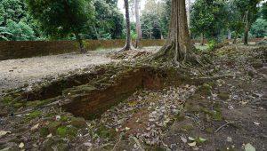 Susunan bata di dalam tanah di Kawasan Candi Muara Jambi